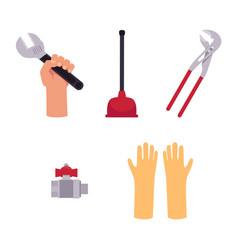 flat plumbing tools equipment set vector image