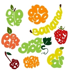 fresh fruit lettering set vector image