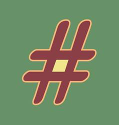 hashtag sign cordovan icon vector image vector image