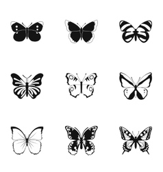 Insects butterflies icons set simple style vector