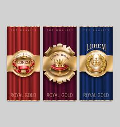 luxury decorative banners with gold crowns vector image