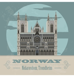 Norway landmarks retro styled image vector