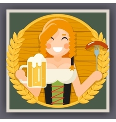 Oktoberfest poster girl with beer festival vector