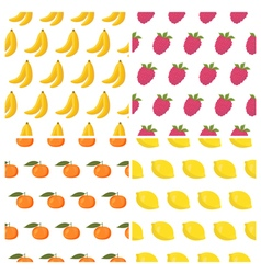 Seamless patterns set with fruits healthy food vector