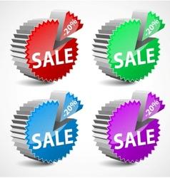 set of colorful 3d sale labels vector image