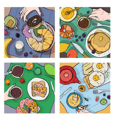 Set of different breakfast top view square vector