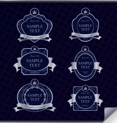 set of vintage dark blue frame labels vector image vector image