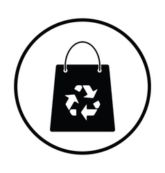 Shopping bag with recycle sign icon vector image