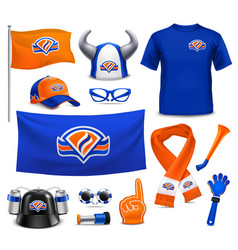 sport supporters fans accessories realistic set vector image vector image