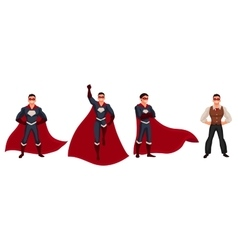 Superhero man in cape and usual clothes vector