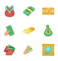 Types of money icons set cartoon style vector