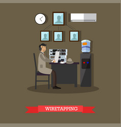 wiretapping concept in flat vector image