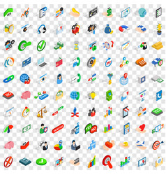 100 payment icons set isometric 3d style vector