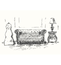 Cozy room sofa drawn sketch vector