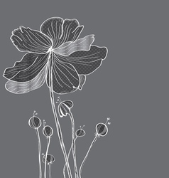 Floral gray card vector