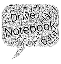 Notebook hard drive recovery text background vector