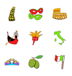 Country italy icons set cartoon style vector