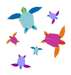 Multicolored origami turtle group vector image