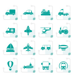 stylized different kind of transportation icons vector image