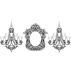 fabulous baroque mirror and chandelier frame set vector image