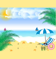 Summer holidays beach seashore beach chair vector