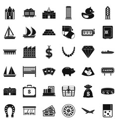 Wealth icons set simple style vector