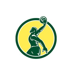 Basketball player dunk ball circle retro vector
