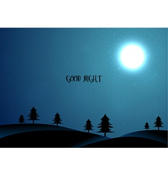 Nature card with trees and moon vector image