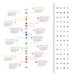 Modern flat timeline with rainbow milestones and vector