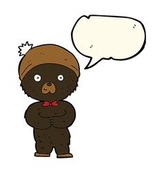 cartoon little black bear with speech bubble vector image
