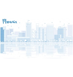 Outline Phoenix skyline with blue buildings vector image