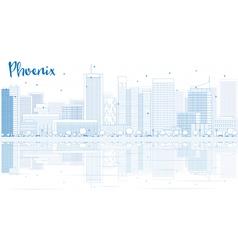 Outline phoenix skyline with blue buildings vector