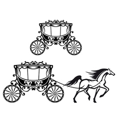 Horse with old carriage vector