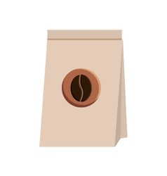 Paper coffee bag with bean sign vector image