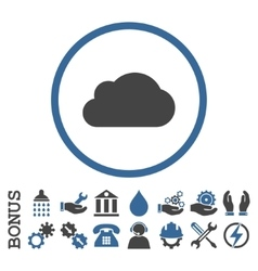 Cloud flat rounded icon with bonus vector