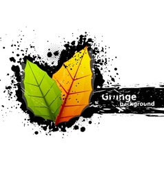 Grunge background with leaves vector image