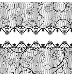 black lace seamless pattern with roses vector image vector image