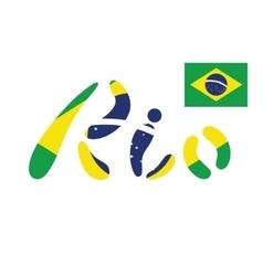 Brazil Flag Flat Rio de vector image