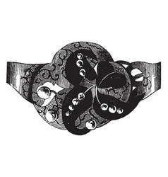 Brooch diamonds set vintage engraving vector