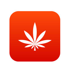 cannabis leaf icon digital red vector image vector image