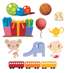 Colorful cartoon of baby stuffs vector