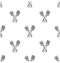 crossed spatula icon in black style isolated on vector image