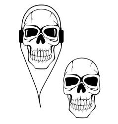 Danger human skull in headphones vector image vector image