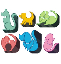Dog icon symbol set vector