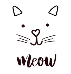 Head cat silhouette black icon lettering meow vector