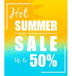Hot Summer Sale with sun over triangular vector image
