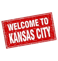 Kansas city red square grunge welcome to stamp vector