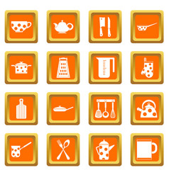 Kitchen tools and utensils icons set orange vector