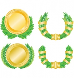 laurel wreath and medal vector image