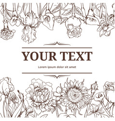 Monochrome vintage floral background vector